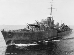 """""""HMAS Warramunga (AWM 017128)"""" by Roy Driver - This image is available from the Collection Database of the Australian War Memorial under the ID Number: 017128"""