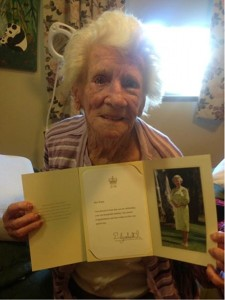 Stella with her letter from the Queen